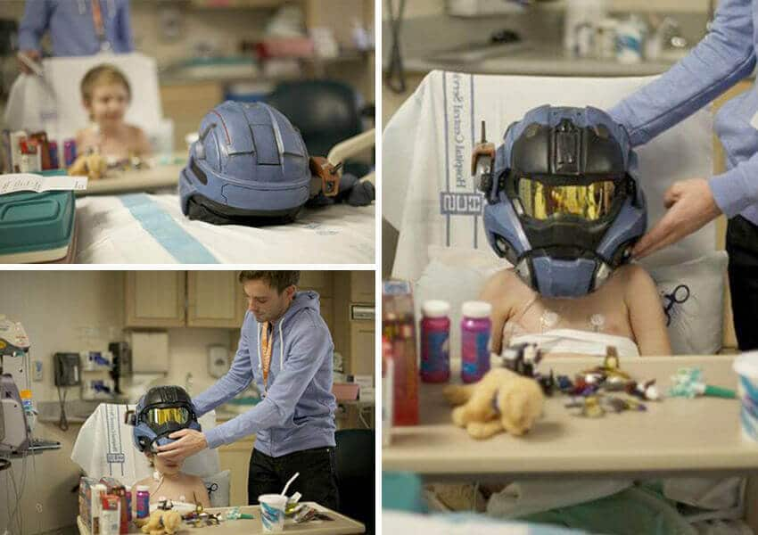 The team built him a custom helmet based off of the main character and sent it along with shirts, toys and custom art from the game's designers.