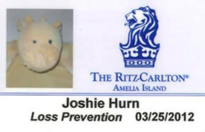 They knew Joshie couldn't just be aimlessly wandering around the Ritz without a staff card ... so they made him one!
