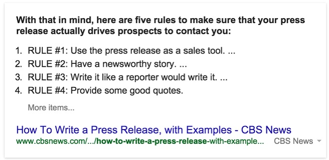 Featured Snippet Answers How To Write a Press Release - CBS News