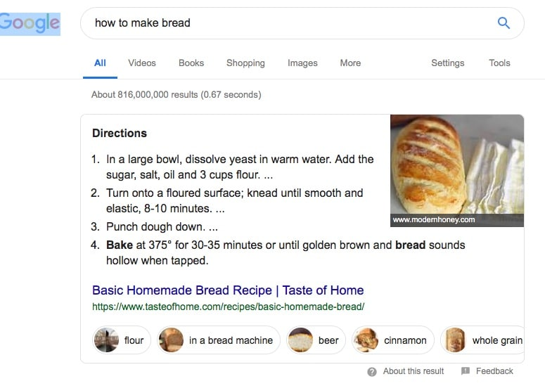 Google Search How to Make Bread