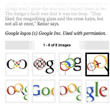 The Wired article about Google's logo is split into eight pages, making it very difficult to read.