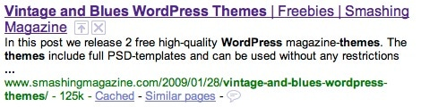 Google Smashing Magazine  here's how the page is displayed in a Google search result