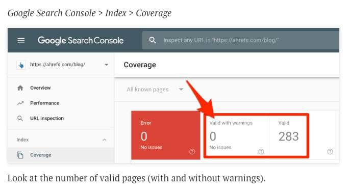 Google Search Console Go to Index Go to Coverage