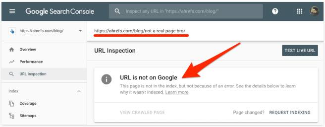 Google Search Console If the page is not indexed it says URL is not on Google