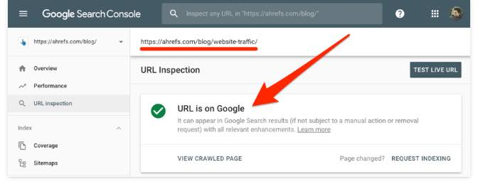 Google Search Console if the page is indexed it says URL is on Google
