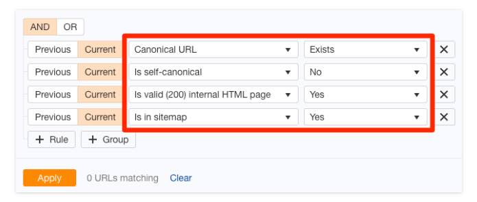 If you want a quick way to find rogue canonical tags across your entire site, run a crawl in Ahrefs' Site Audit tool