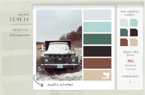 Design Seeds showcases color palettes in a photo so you can see how they look together