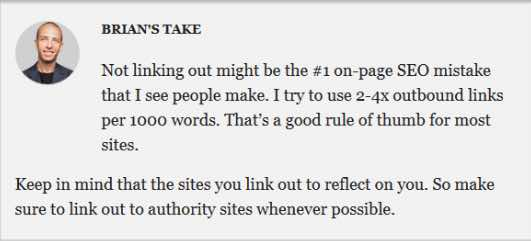 Brian from Backlinko's take on the need for outbound links in your content