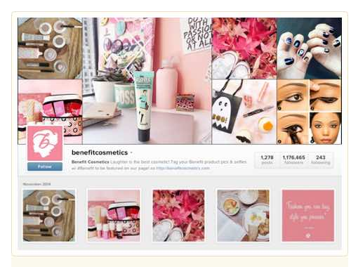 Benefit Cosmetics uses feminine imagery and a consistent color palette.