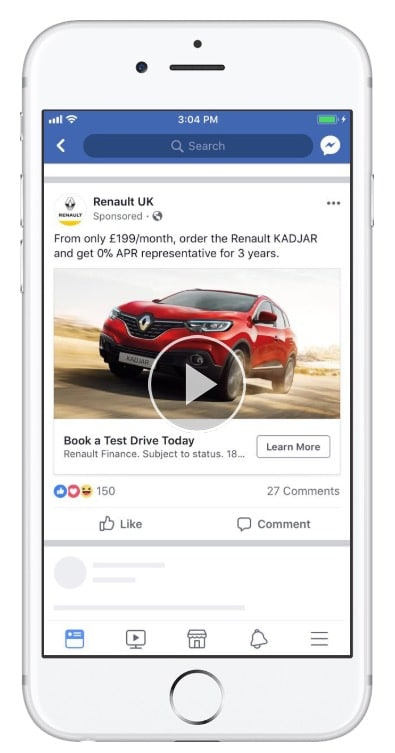 Renault UK ran a great ad to Book a Test Drive Today