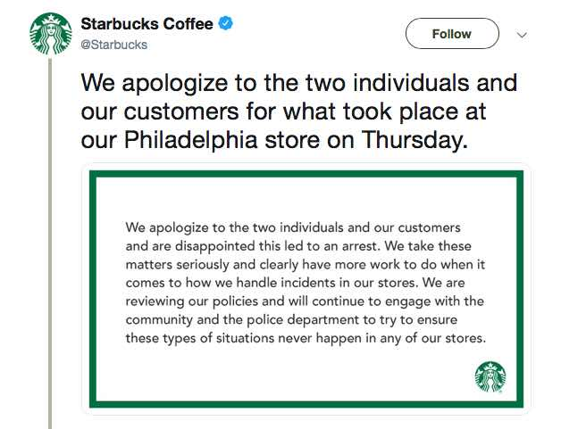 Starbucks apology for Philadelphia incident with 2 black customers